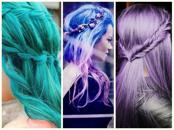 Trenzas en todo el pelo de colores for Decoraciones para el pelo