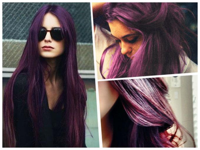 Color berenjena oscuro pelo
