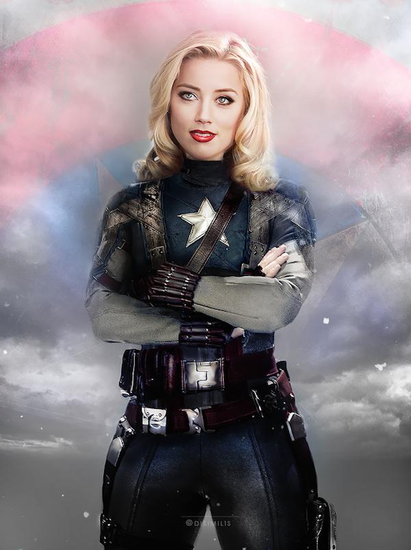 Amber Heard como Captain America / Ágnes Domokos
