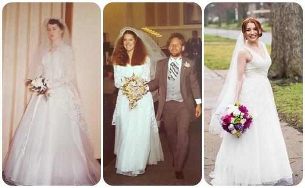 la novia que usó el mismo vestido que su mamá y su abuela en su boda