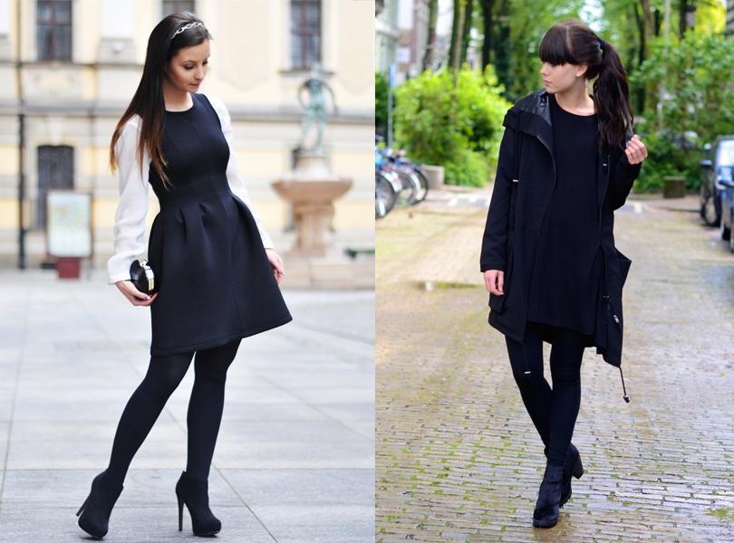 Como usar vestidos con medias negras