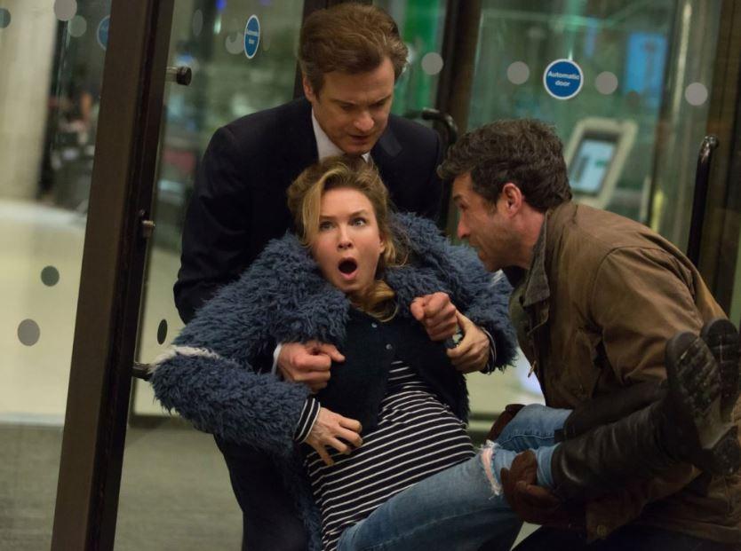 Renée Zellwegeger, Patrick Dempsey y Colin Firth en escena de Bridget Jones Baby