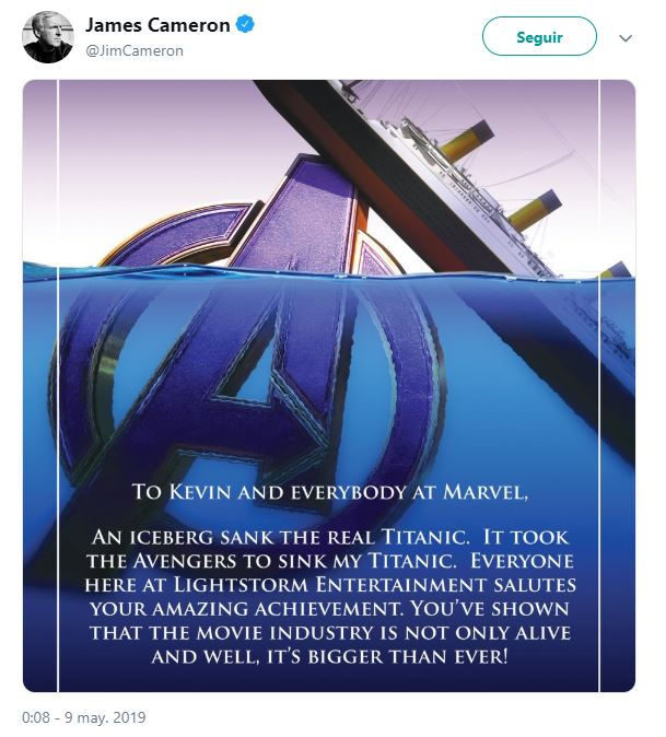 James Cameron S Avatar Logo: James Cameron Felicita A 'Avengers: Endgame' Por Superar A