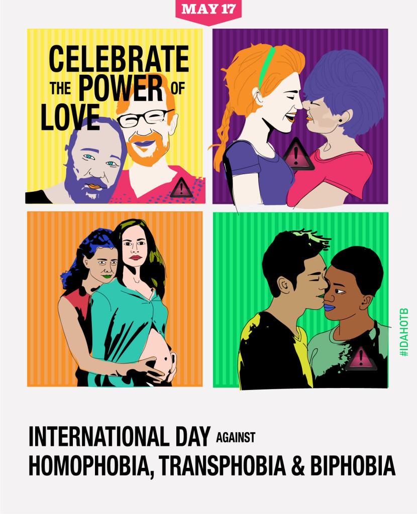 ilustraciones con motivo del día internacional contra la homofobia