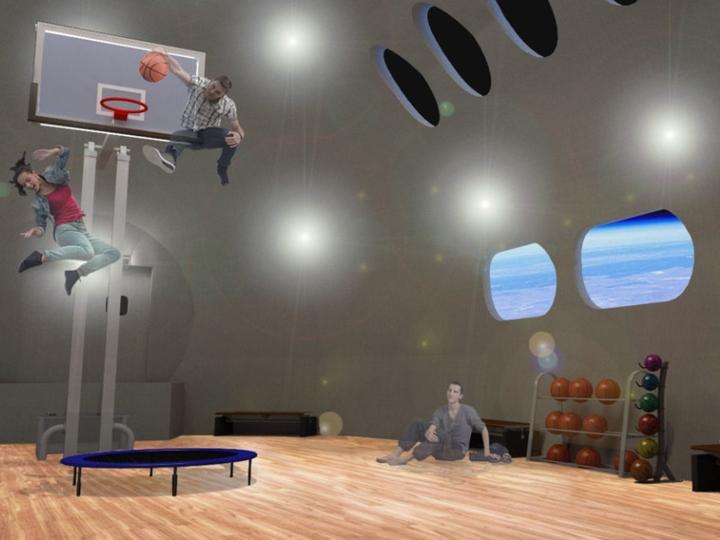 Render de cómo sería el gimnasio con gente saltando muy alto