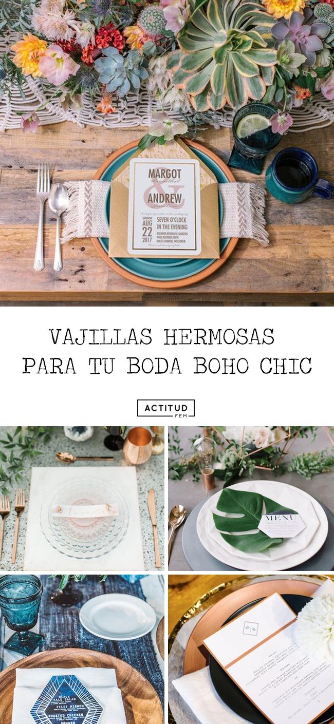 Vajillas para boda boho chic en Pinterest
