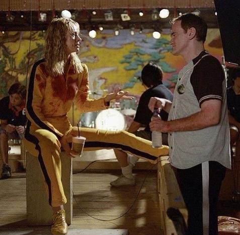 Uma Thurman y Quentin Tarantino durante el rodaje de Kill Bill.