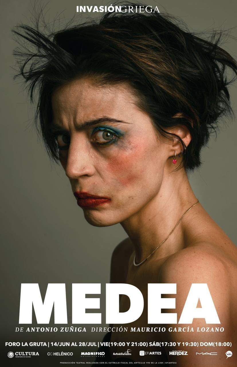 Poster de la obra de teatro Medea en el que se ve a Ilse Salas con la cara manchada de maquillaje