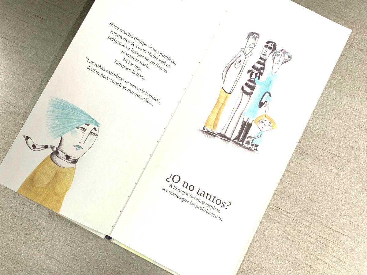 Foto del libro Nosotras. Nosotros con una ilustración de Valeria Gallo.