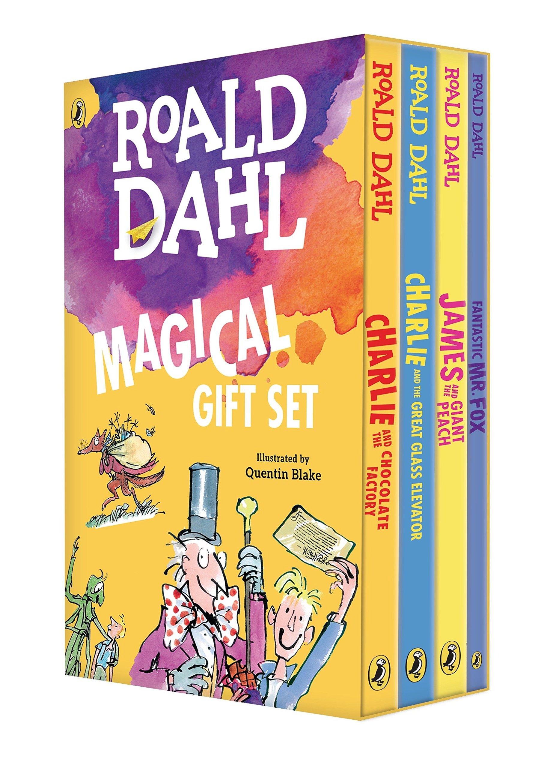 Foto de una caja con libros de Roald Dahl en inglés