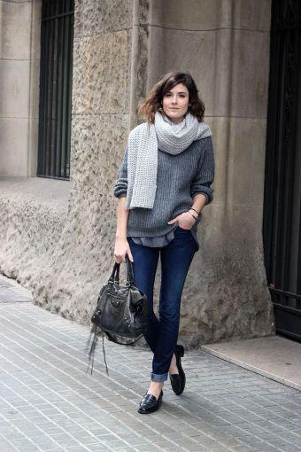 Suéter gris para otoño 2014.