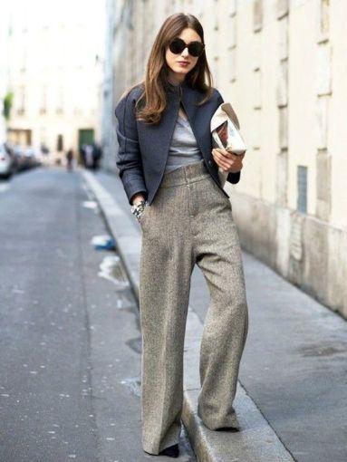 Cómo combinar pantalones anchos con suéter este invierno ...