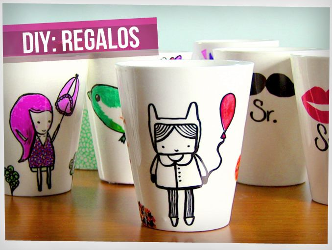 Tutorial diy tazas con sharpies actitudfem - Decoracion con tazas de cafe ...
