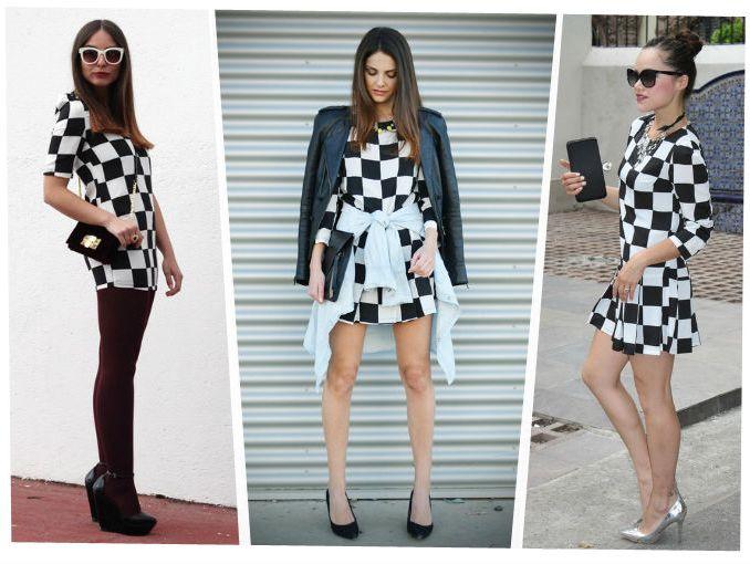 Vestido a cuadros blanco y negro