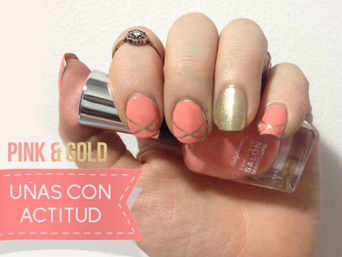 Manicure con dorado y rosa [FOTOS] | ActitudFem
