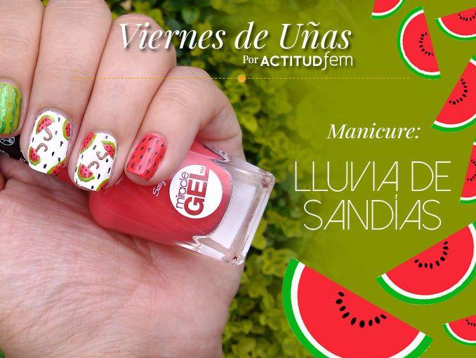Lluvia de sandías en tus uñas [Tutorial] | ActitudFem