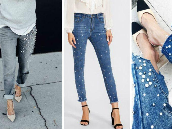 Resultado de imagen de jeans con perlas tendencia